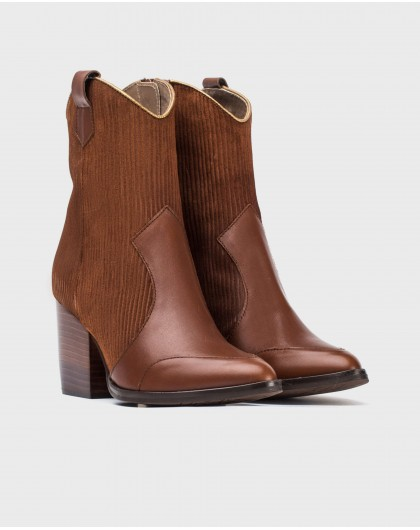 Wonders-Ankle Boots-Corduroy leather cowboy style ankle boot