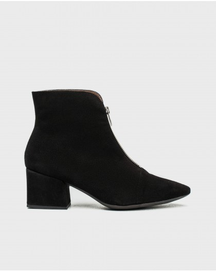 Wonders-Outlet-Suede leather ankle boot with front zip design