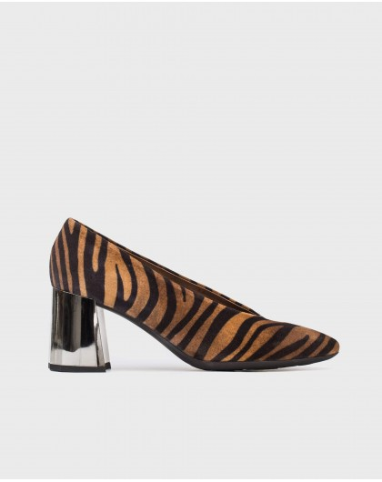 Wonders-Outlet-Zebra print shoe with painted heel