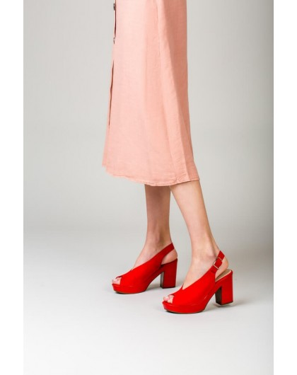 Wonders-Outlet-Leather peep toe sandal with oval throat