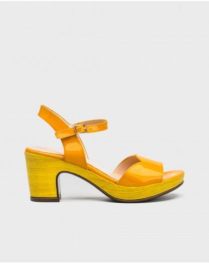 Wonders-Outlet-Patent eather platform sandal