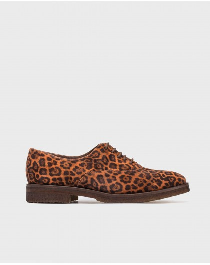 Wonders-Flat Shoes-Animal print suede leather bluchers