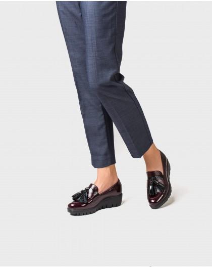 Wonders-Wedges-Patent leather tassel loafer