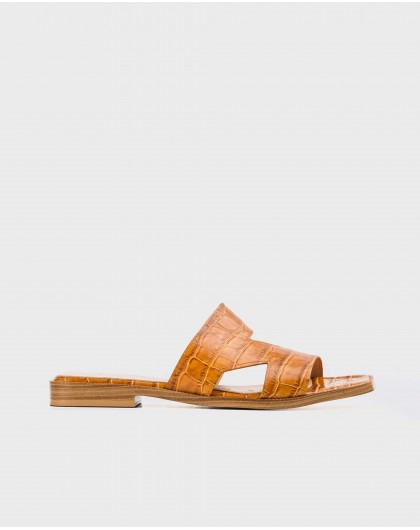 Wonders-Flat Shoes-Leather flat sandal with side cutouts
