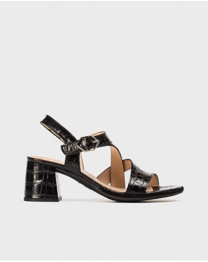 Wonders-Sandals-High heeled mock croc sandal