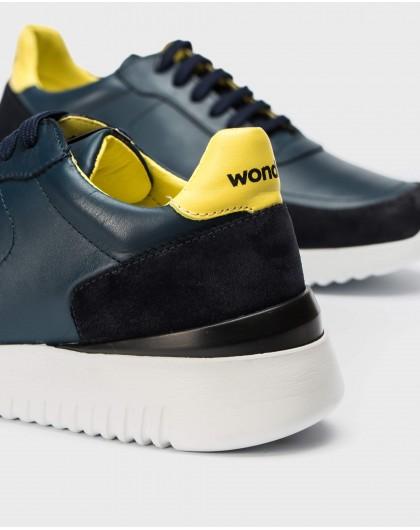 Wonders-Men-Leather sneaker with shoelaces