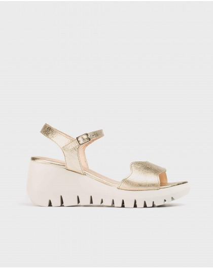 Wonders-Wedges-Metallic leather wave sandal