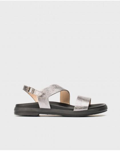 Wonders-Flat Shoes-Metallic leather sandal