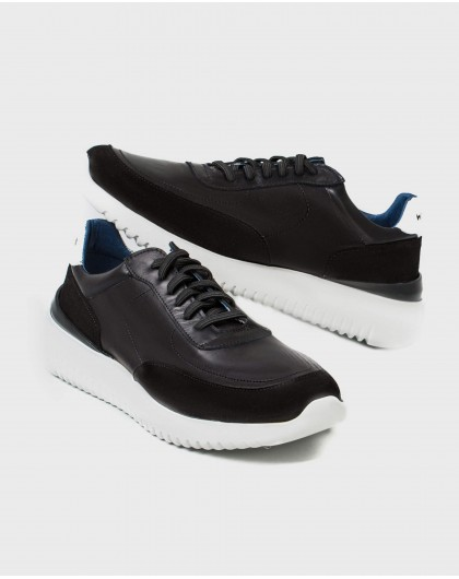 Wonders-Outlet-Leather sneaker with elastic closure