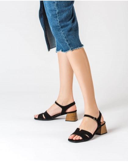 Wonders-Sandals-Wood effect leather sandal
