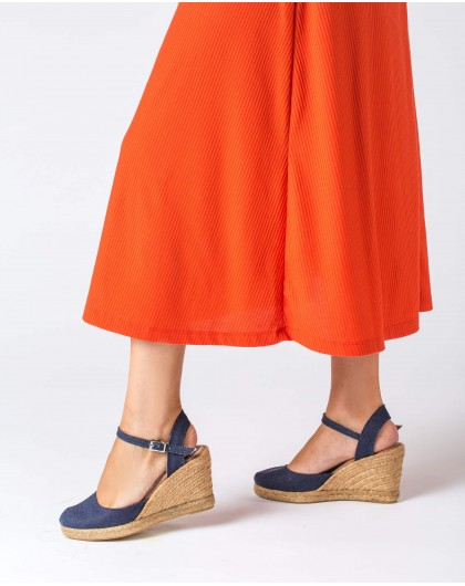 Wonders-Outlet-Fabric wedge espadrilles