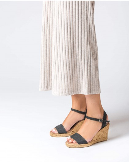 Wonders-Wedges-Espadrille with fabric strap