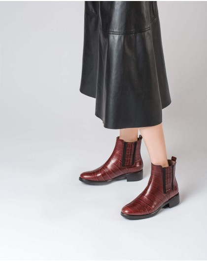 Wonders-Ankle Boots-Mock croc leather ankle boot with elastic