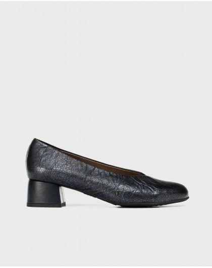 Wonders-Heels-High heeled metallic ballet pump