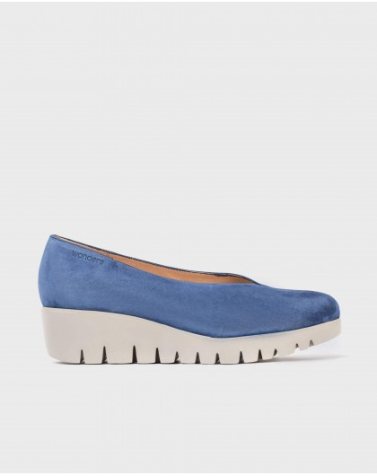 Wonders-Wedges-Leather throat court shoes
