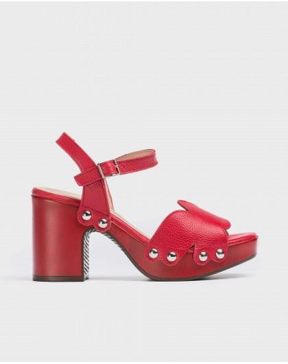 Wonders-Heels-Plaited leather sandal