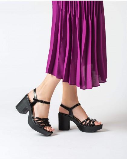 Wonders-Heels-Plaited platform sandal