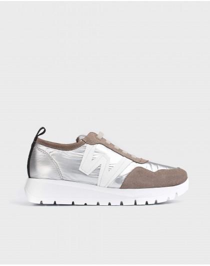 Wonders-Flat Shoes-Silver Luna Sneaker