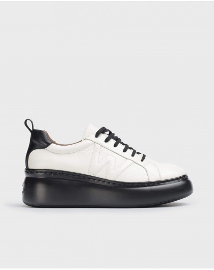 Wonders-Flat Shoes-Dorita White and Black Trainers