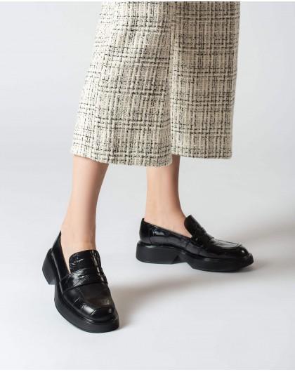 Wonders-Flat Shoes-Black Hero Moccasin