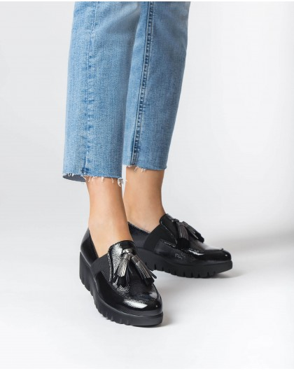 Wonders-Wedges-Black Candy Moccasin