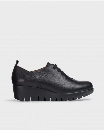 Wonders-Wedges-Soft Black leather Sneaker
