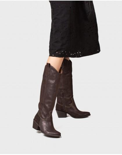 Wonders-Boots-Metallic leather cowboy boot