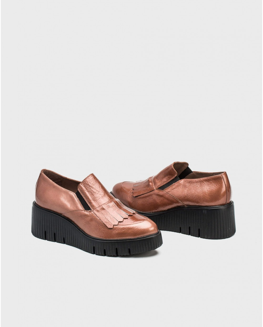 Wonders-Flat Shoes-Leather penny loafer with fringe