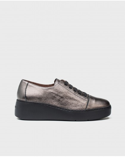 Wonders-Sneakers-Metalized leather sneakers with elastic fastener