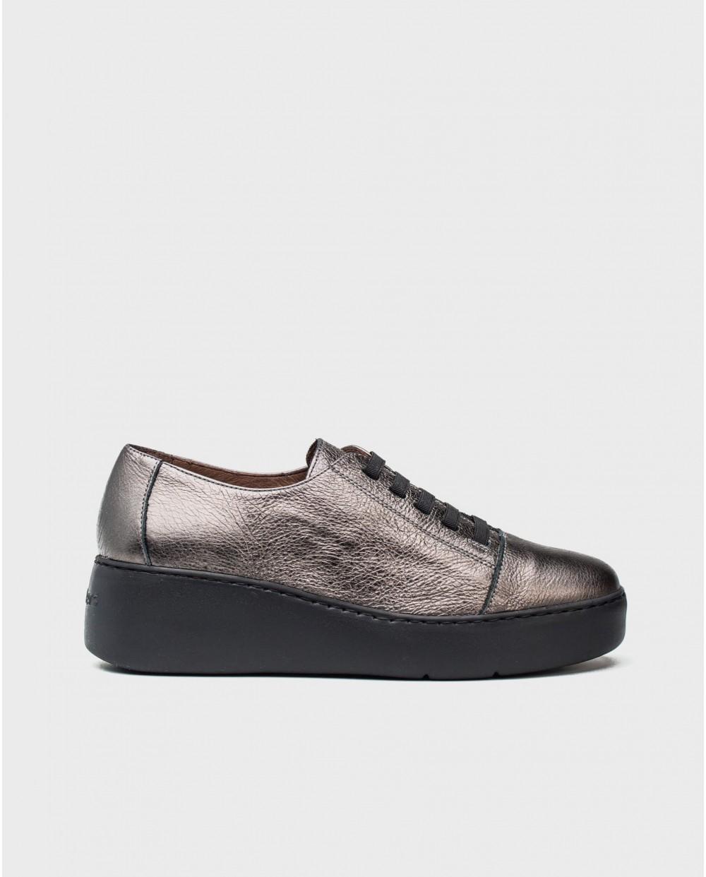 Wonders-Sneakers-Metalized leather sneakers with elastic fastener