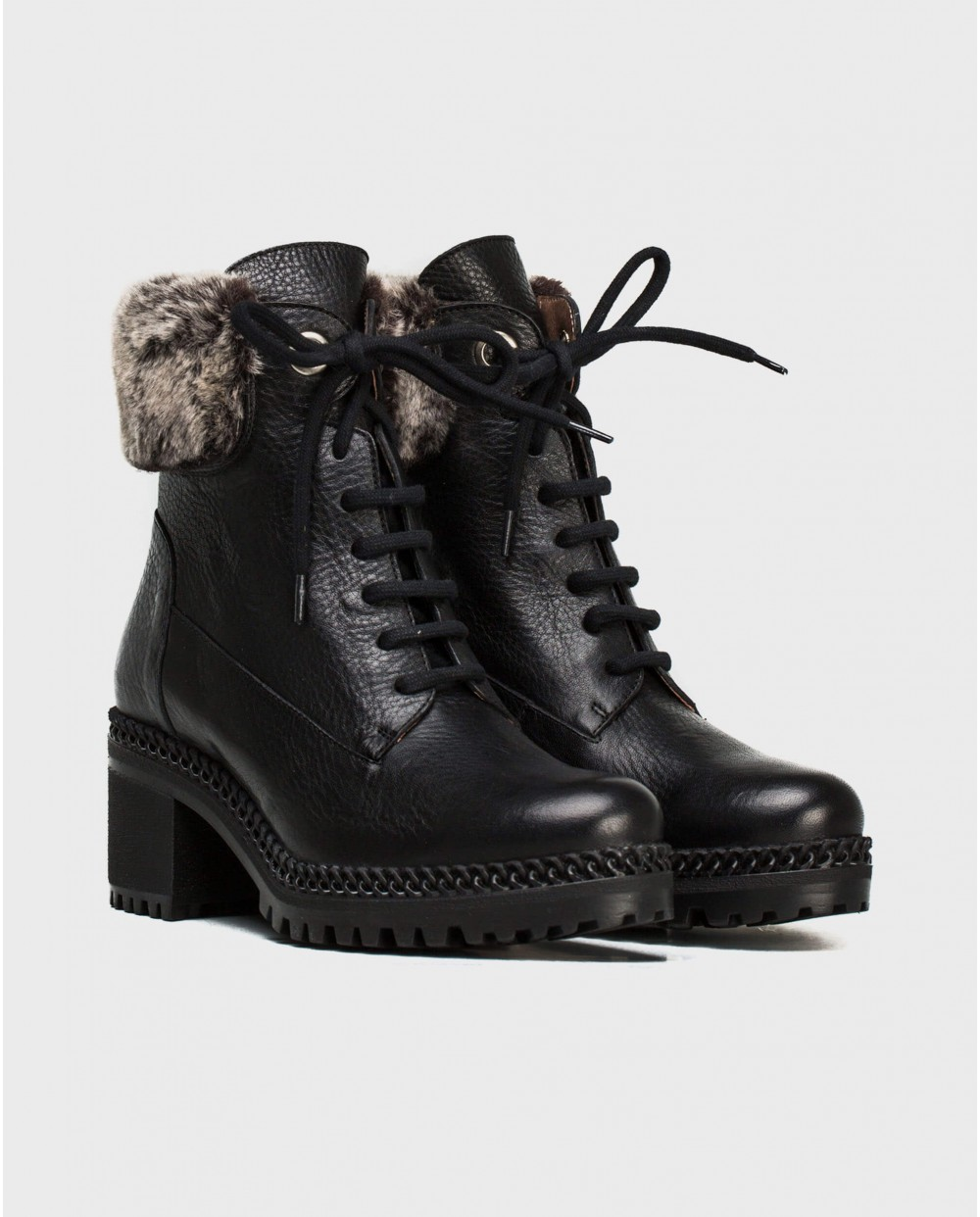 Wonders-Ankle Boots-Ankle boot with fur detai