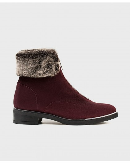 Wonders-Outlet Women-Fur suede leather ankle boot