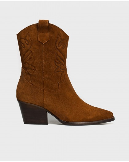 Wonders-Ankle Boots-Suede embroidered ankle boot