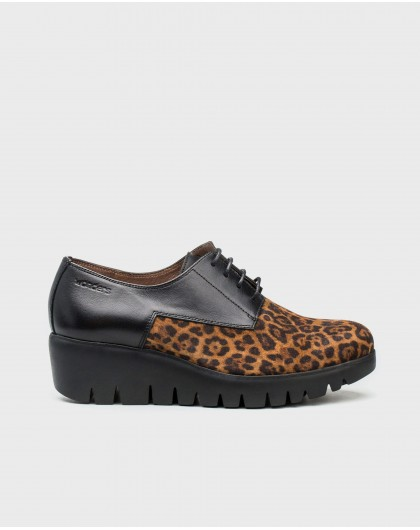 Wonders-Flat Shoes-Leather animal print sneakers