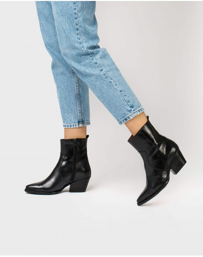Wonders-Ankle Boots-Snake print ankle boot