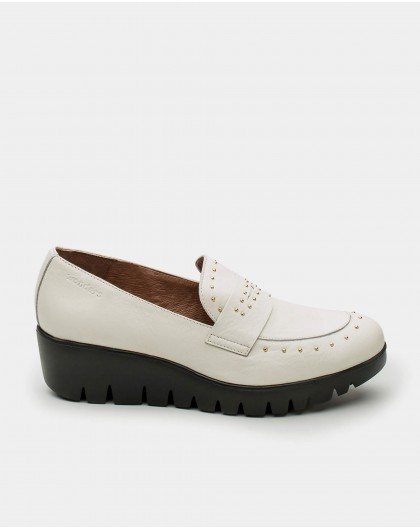 Studded patent leather loafers