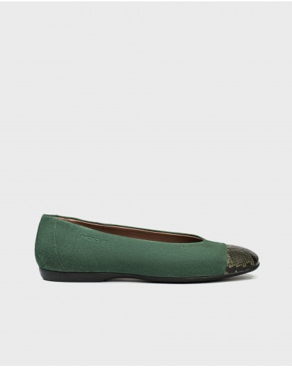 Wonders-Flat Shoes-Ballet pump with snake print toe cap