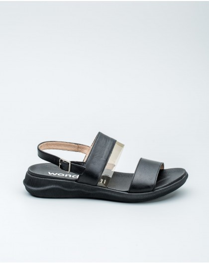 Wonders-Women-Suede leather sandal with circle detail