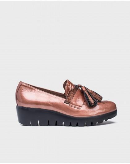 Wonders-Wedges-Metallic leather tassel loafer