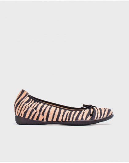Wonders-Flat Shoes-Zebra print ballet pump with bow detail