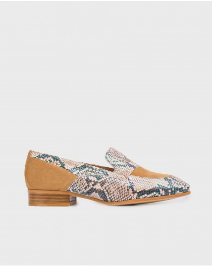 Wonders-New Season-Snake print leather Penny loafer