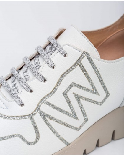 Wonders-Outlet-Leather sneaker with Logo