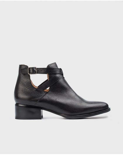 Wonders-Ankle Boots-Leather ankle boot with criss-cross straps