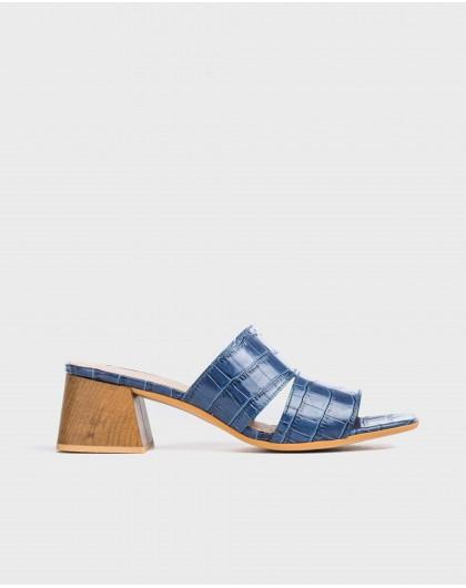 Wonders-Sandals-High heeled mock croc mule