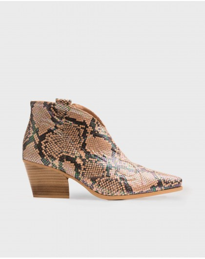 Wonders-Women-Snake print leather cowboy style ankle boot