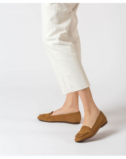 Wonders-Outlet-Leather ballet pump with double fringe