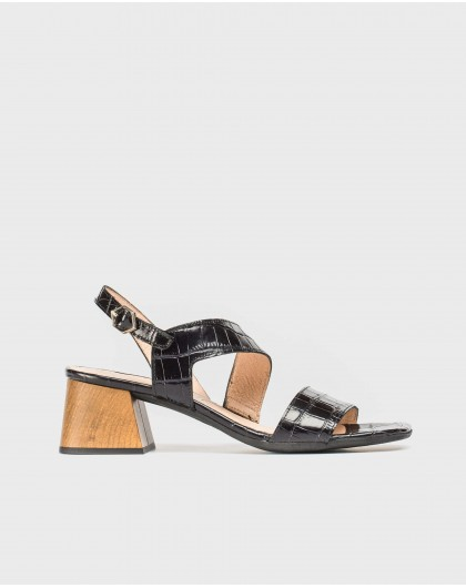 Wonders-Sandals-Mock croc high heeled sandal