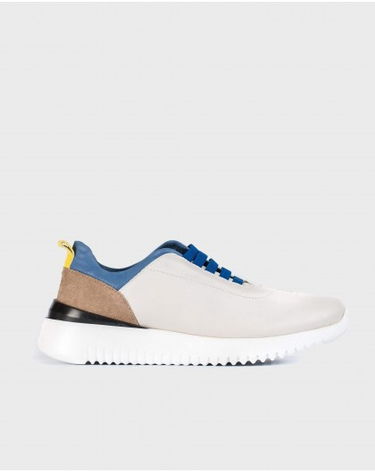 Leather sneakers with elastic