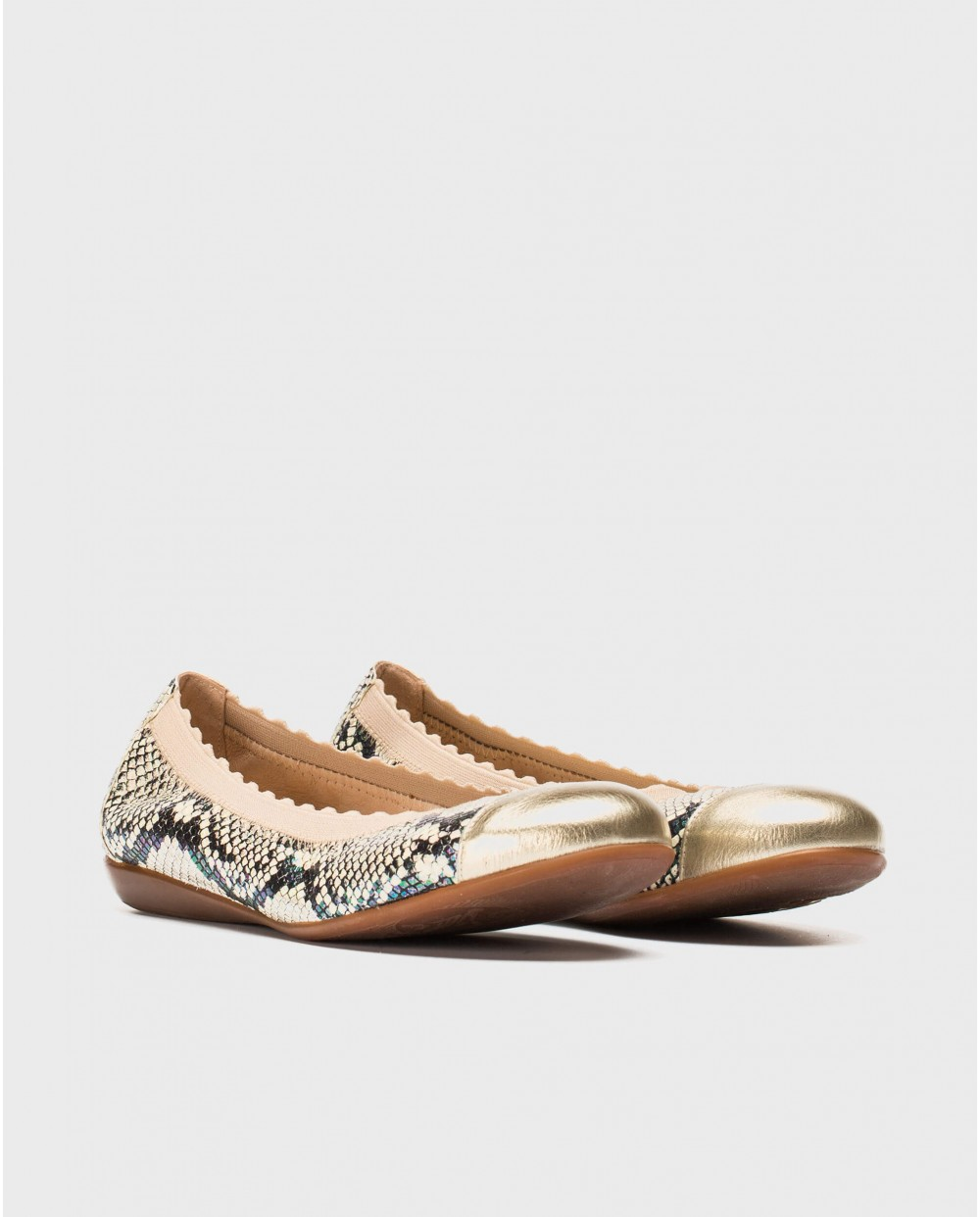 Wonders-Flat Shoes-Ballet pumps with metallic toe cap