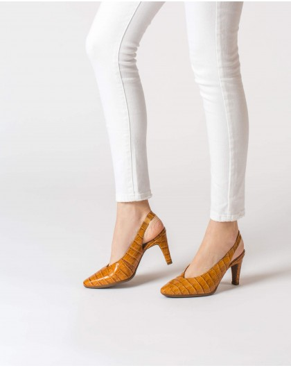 Wonders-Heels-Backless Mock-croc shoe